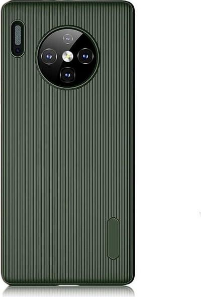 Gpack Huawei Mate 30 Pro Kılıf Çizgili Trio Silikon Lüx Koruma + Nano Glass Haki