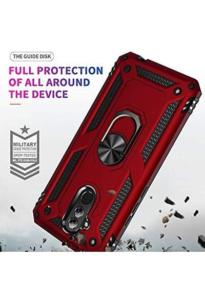 Gpack OnePlus 7 Pro Kılıf Çift Katman Zırh Koruma Yüzüklü Vega Kırmızı