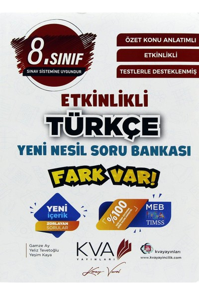 Kva Yayınları 8. Sınıf Fark Var Türkçe Etkinlikli Soru Bankası