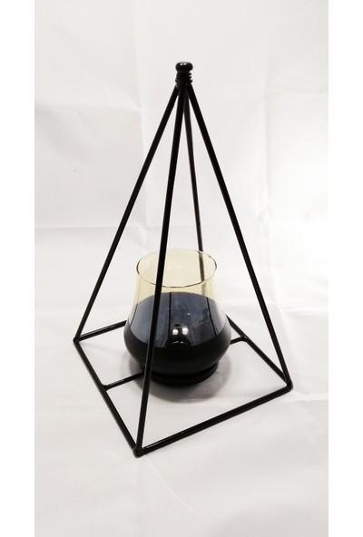 Ancel Siyah Metal Piramit Şamdan