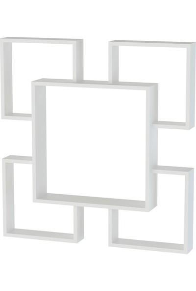 Sanal Mobilya Albus Duvar Rafı Parlak Beyaz