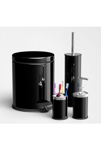 Aksesuaros Siyah Renkli Çöp Kovası Banyo Seti