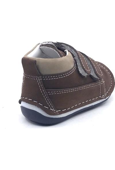 Rüzgar Bebe Kahve Deri Cırtlı İlk Adım Erkek Çocuk Ayakkabı