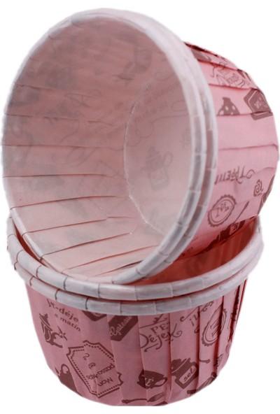 Tahtakale Toptancısı Cupcake Kalıbı Orta Boy 50 x 39 mm Desenli 50Adet Pembe Mutfak Desenli