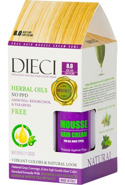 Dieci Hair Color Cream Herbal Oils Amonyaksız Saç Boyası 8.0 Light Blond Açık Sarı + Free Hair Mousse 50ML.