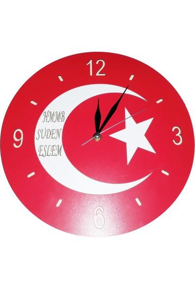 Syz Şanlı Türk Bayrağımız Şeklinde Duvar Saati