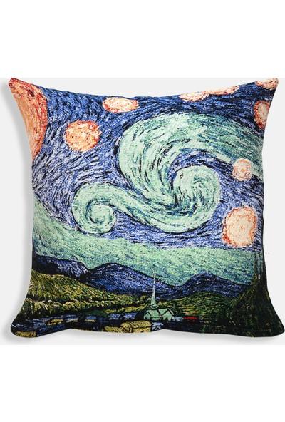 Monohome Starry Night Goblen Pano Kırlent Kılıfı