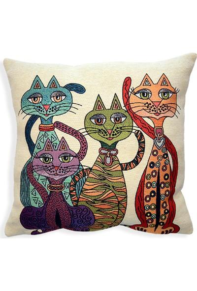 Monohome Color Cat Goblen Pano Kırlent Kılıfı