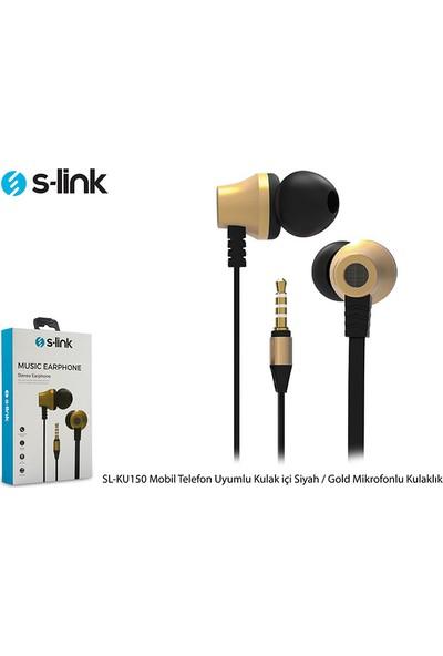 S-link SL-KU150 Mobil Uyumlu Taşıma Çantalı Kulak İçi Siyah/Gold Mikrofonlu Kulaklık