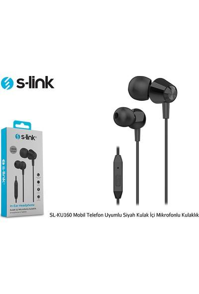 S-link SL-KU160 Mobil Uyumlu Siyah Kulak İçi Mikrofonlu Kulaklık