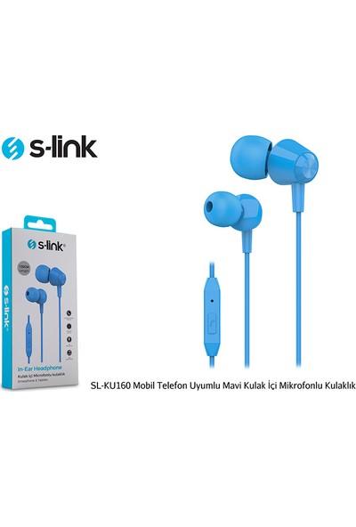 S-link SL-KU160 Mobil Uyumlu Mavi Kulak İçi Mikrofonlu Kulaklık