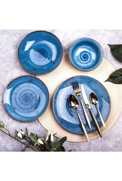 Marianna Azur 24 Parça Porselen Yemek Takımı Mavi