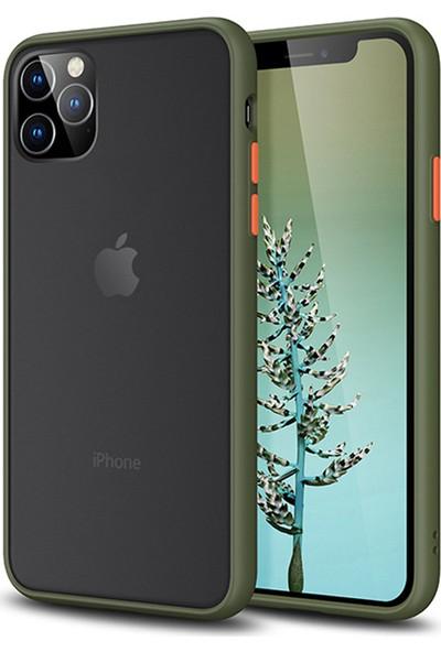 Vendas Apple iPhone 11 Pro Max Premium Drop Design Silikon Yeşil Kılıf + 5D Tam Kaplama Ekran Koruyucu
