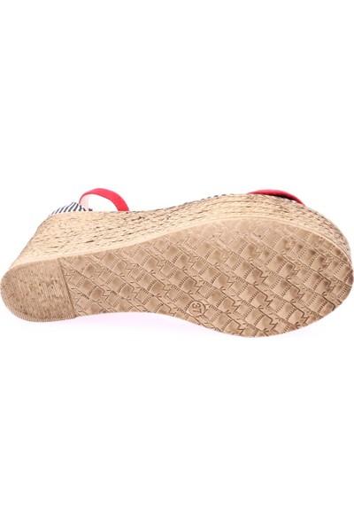Dgn 601 Kadın Önü Fiyonklu Bilekten Bağlı Dolgu Taban Sandalet