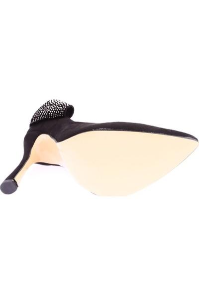 Dgn 6703 Kadın Sivri Burun Parmak Dekolteli Yanı Silver Taşlı Stiletto