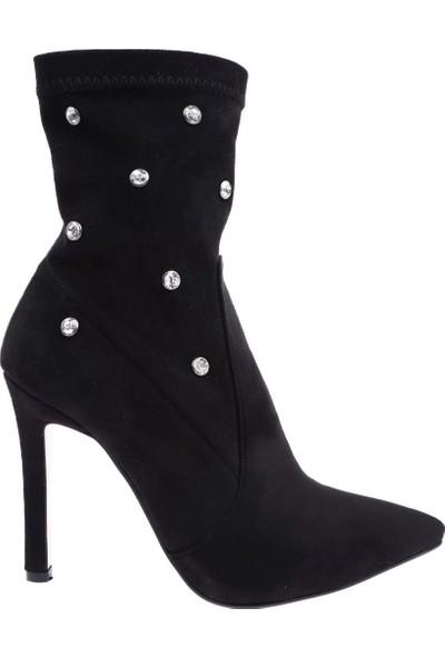 Dgn 320-255 Kadın Sivri Burun Kristal Troklu Topuklu Çorap Bot