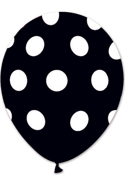 Kidspartim Beyaz Puantiyeli Siyah Balon