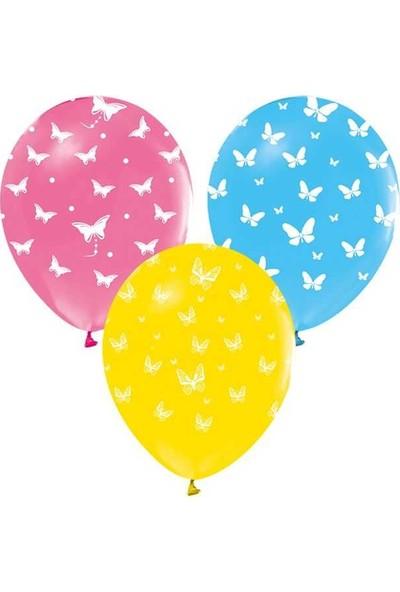 Kidspartim Kelebek Desenli Renkli Balon