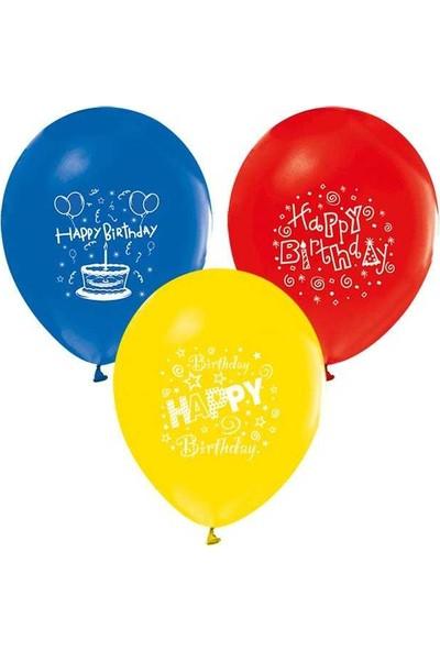 Kidspartim Happy Birthday Baskili Renkli Balon