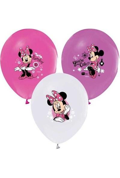 Kidspartim Minnie Mouse Baskili Renkli Balon