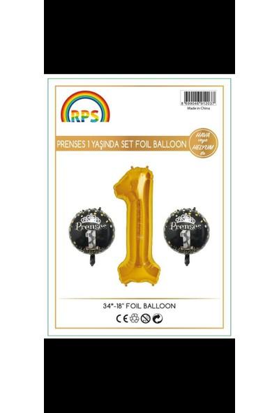 Kidspartim 1 Yaş Gold Prenses 3 lü Folyo Balon