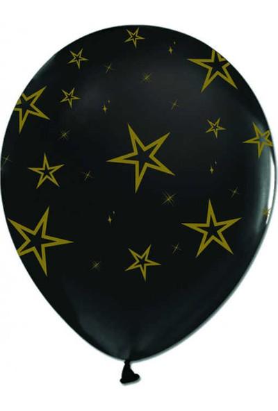 Kidspartim Altin Yildiz Baskili Siyah Balon
