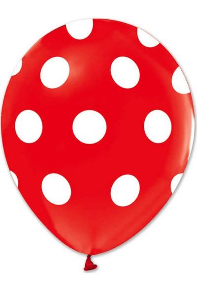 Kidspartim Beyaz Puantiyeli Kirmizi Balon