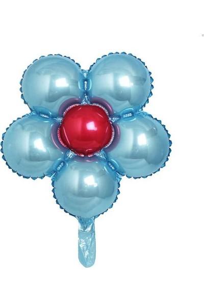 Kidspartim Çiçek Modelli Folyo Balon Mavi 18 inç 40 cm