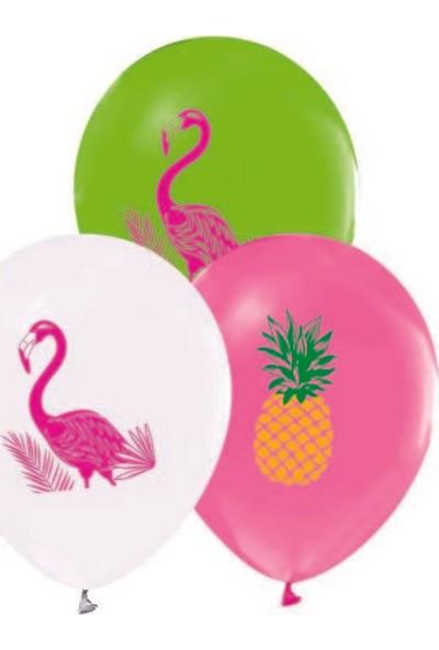 Kidspartim Flamingo Baskili Pastel Renkli Balon