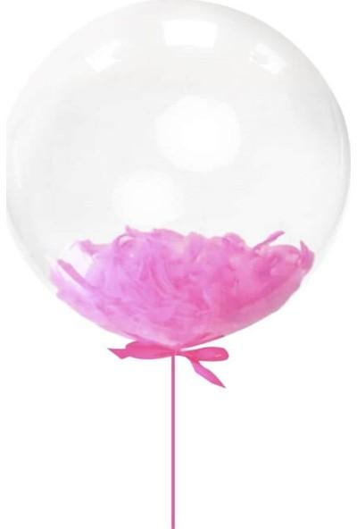 Kidspartim Fuşya Tüylü Şeffaf 18 inç Balon