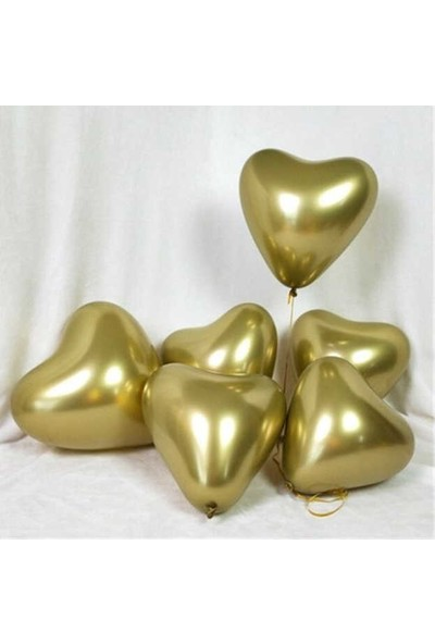 Kidspartim Kalp Krom Altin Balon 16 inç