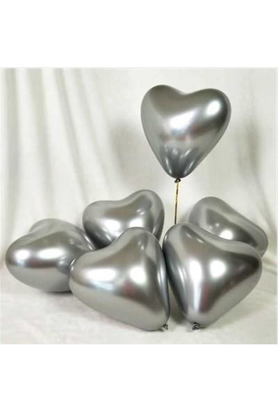 Kidspartim Kalp Krom Gümüş Balon 16 inç