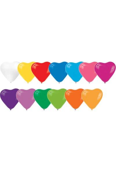 Kidspartim Kalp Modelli Karişik Renkli Balon 12 inç