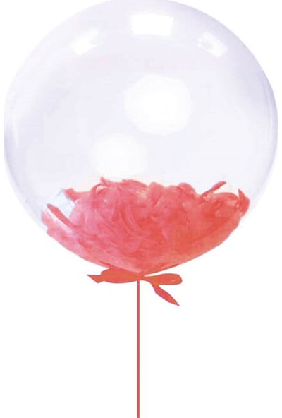 Kidspartim Kirmizi Tüylü 18 inç Şeffaf Balon