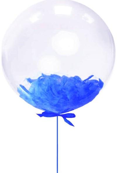 Kidspartim Lacivert Tüylü 18 inç Şeffaf Balon