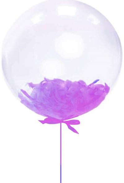 Kidspartim Lila Tüylü 18 inç Şeffaf Balon