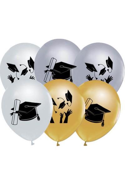 Kidspartim Mezuniyet Baskili Metalik Lateks Balon ( yetişkin için)