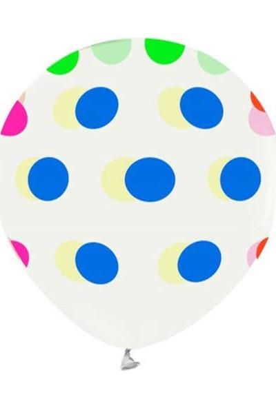 Kidspartim Renkli Puantiyeli Şeffaf Floresan Balon