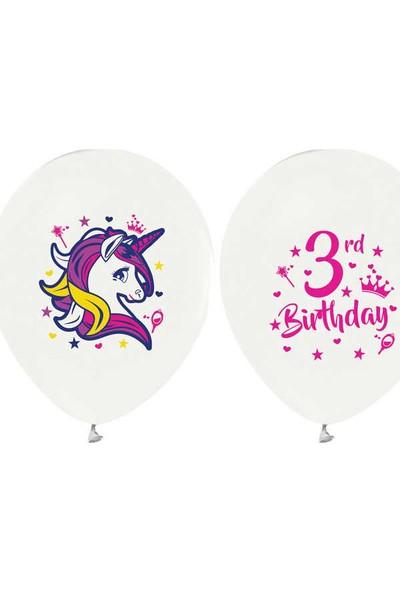 Kidspartim Unicorn 3 Yaş Baskili Beyaz Lateks Balon