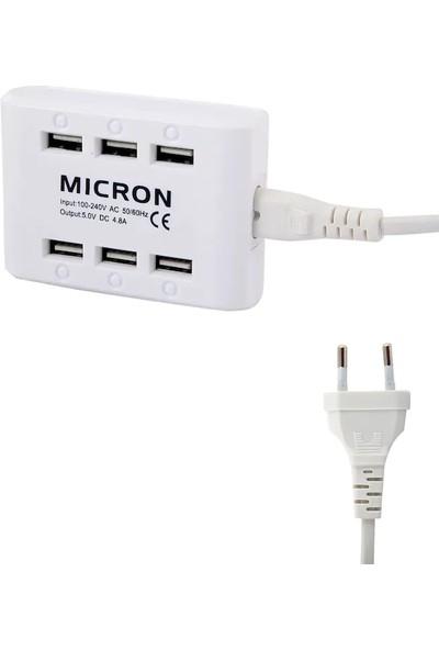 Mıcron 6 Port Çoklu Şarj Cihazı 4.8 Amper