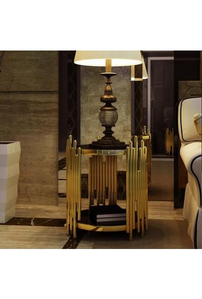 Tsd Dekorasyon Metal Ayaklı Sehpa Altın Çubuklar