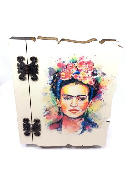Özarslan Dizayn Frida Ahşap Hatıra-Anı Defteri