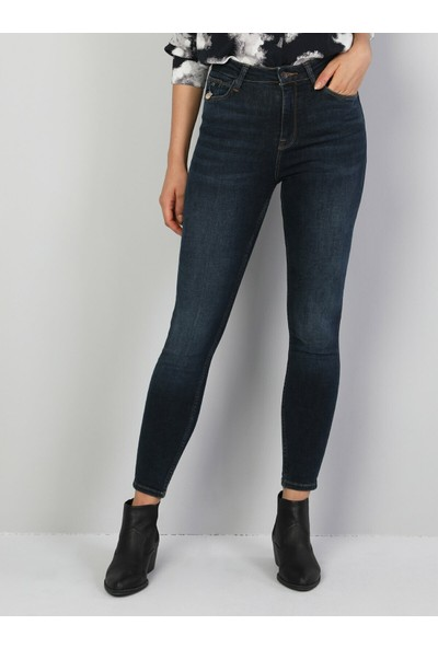Colins 760 DIANA Yüksek Bel Dar Paça Super Slim Fit Mavi Kadın Jean Pantolon
