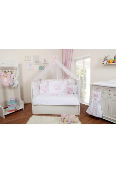 Maya Baby Isme Özel Uyku Seti 60X120 Beyaz&pembe