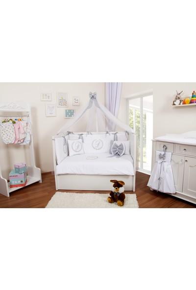 Maya Baby Isme Özel Uyku Seti 80X140 Beyaz&gri