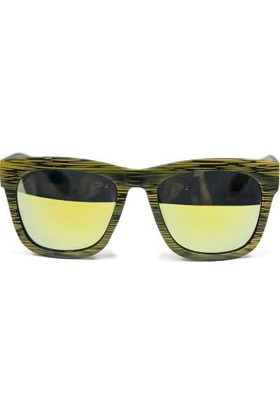 FashionMoon GGZFMW0005 Ahşap Görünümlü Model Sarı Çerçeve Sarı Aynalı Erkek Güneş Gözlüğü