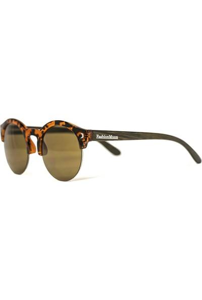 FashionMoon GGZFMW0002 Wooden Yuvarlak Leopar Desenli Yarım Çerçeve Kadın Güneş Gözlüğü