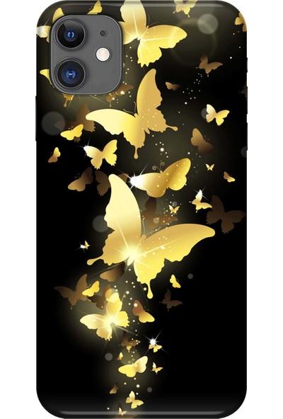Svart Case Apple ıPhone 11 Kelebekler Silikon Telefon Kılıfı