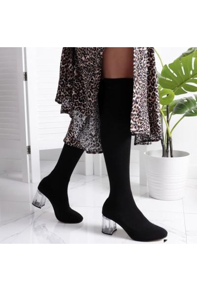 Limoya Rebecca Siyah Gerçek Çorap Şeffaf Topuklu Çizme (Dizüstü-Dizaltı Kullanıma Uygun)