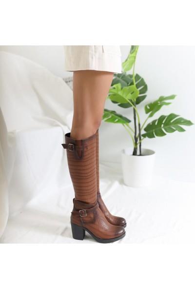 Limoya Charlie Taba Kroko Desenli Kemer Detaylı Çizme